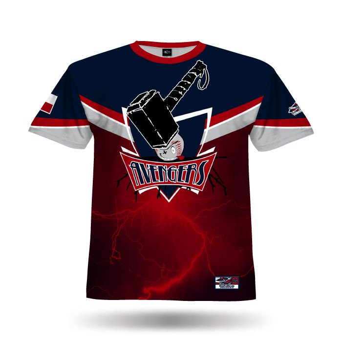 A102 Red & Navy Full Dye Jersey Front