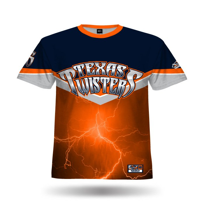 A102 Orange & Navy Full Dye Jersey Front