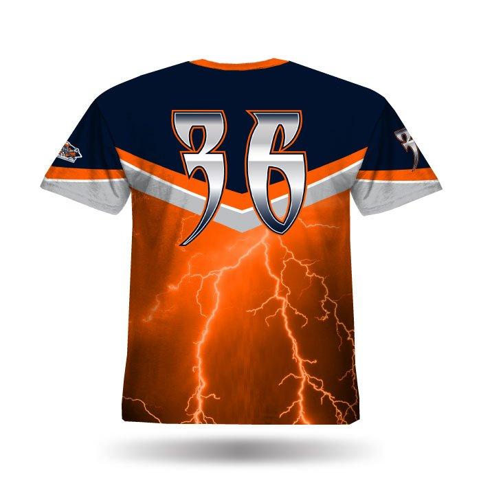 A102 Orange & Navy Full Dye Jersey Back