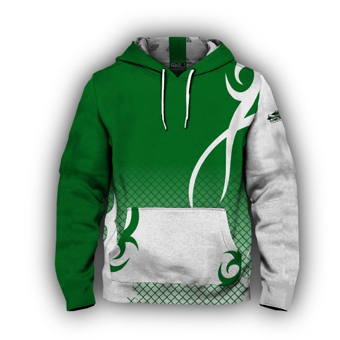 Alpha Dark Green & White Full Dye Hoodie