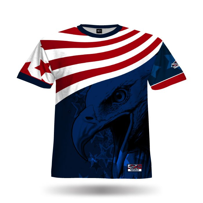 America1 Red & Navy Blank Full Dye Jersey Front