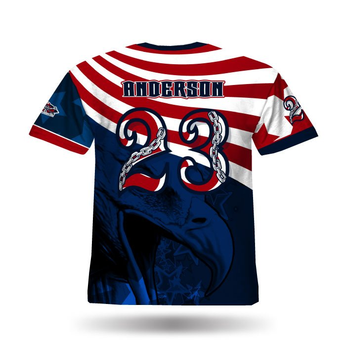 America1 Red & Navy Full Dye Jersey Back