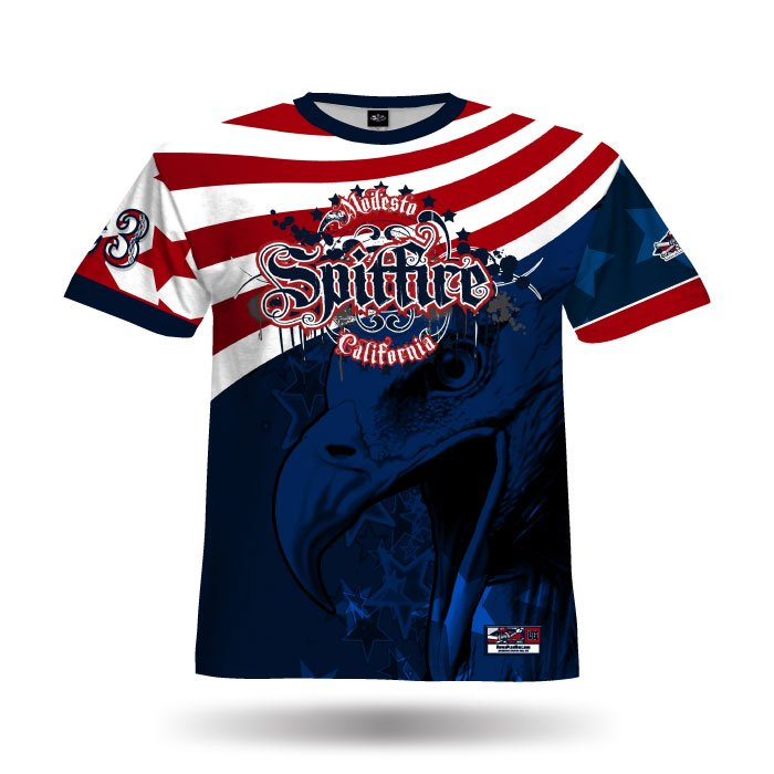America 1 Red & Navy Full Dye Jersey Front