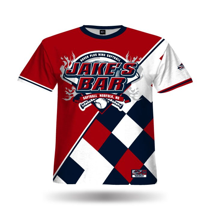 Argyle Red & Navy Full Dye Jersey Front