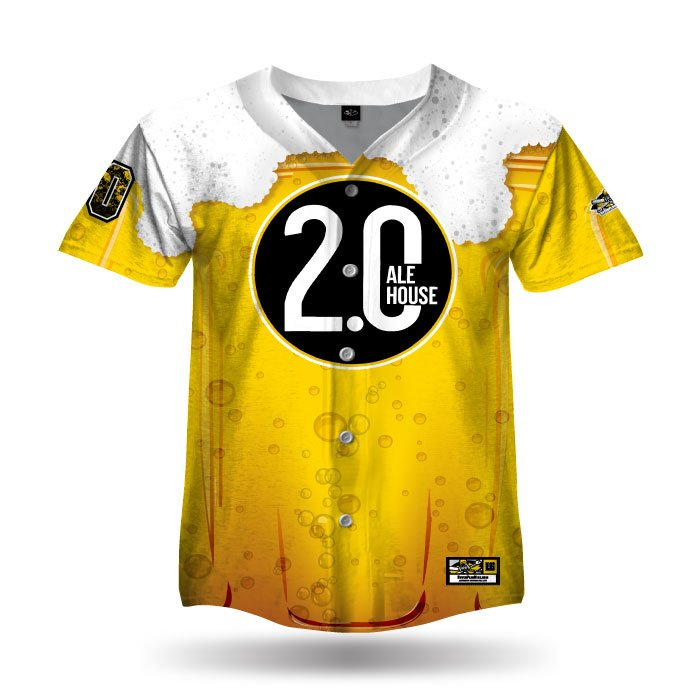 Beer Mug Ath Gold & White Full Dye Jersey Full Button Front