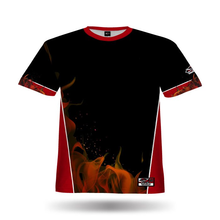 Blaze Red & Black Full Dye Jersey Blank Front