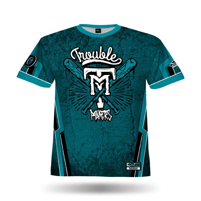 Cracked Teal & Black Full Dye Jersey Front
