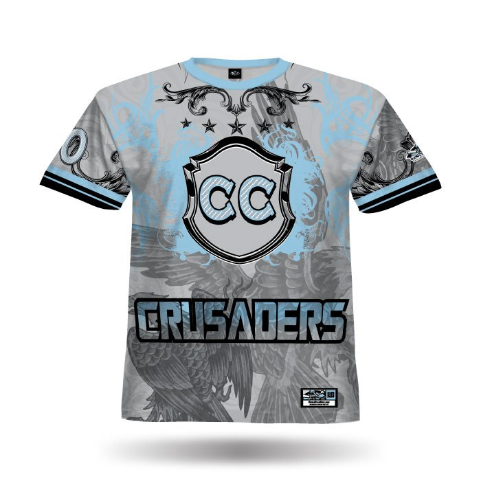 Crest Grey & Columbia Blue Full Dye Jersey Front