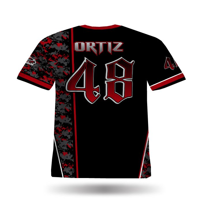 Digi Camo 1 Black & Red Back