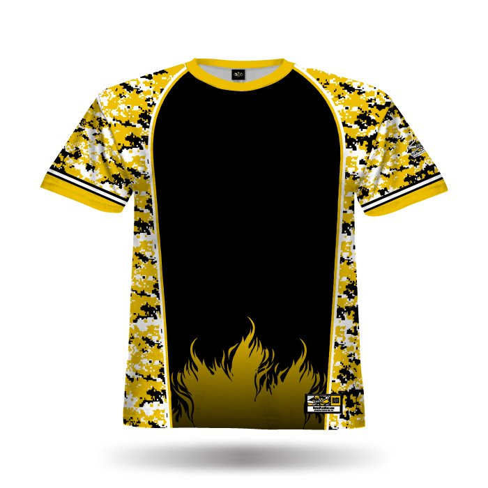 Digi Camo 2 Yellow & Black Full Dye Jersey Front
