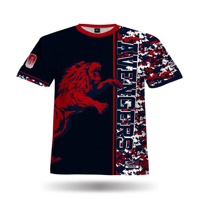 Digi Camo 6 Navy & Red Full Dye Jersey Front