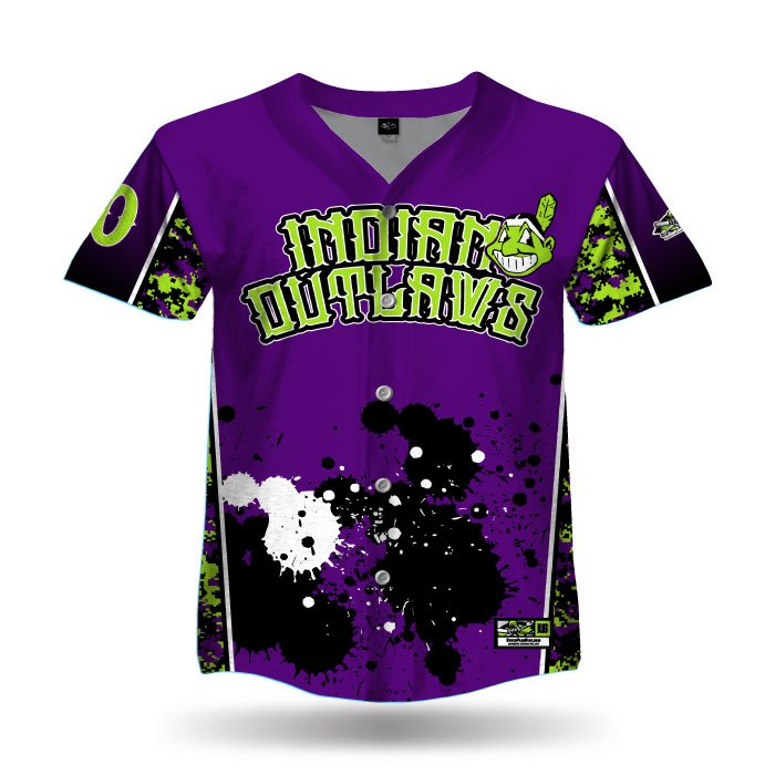 Digi Camo 3 Purple & Lime Full Dye Full Button Jersey Front