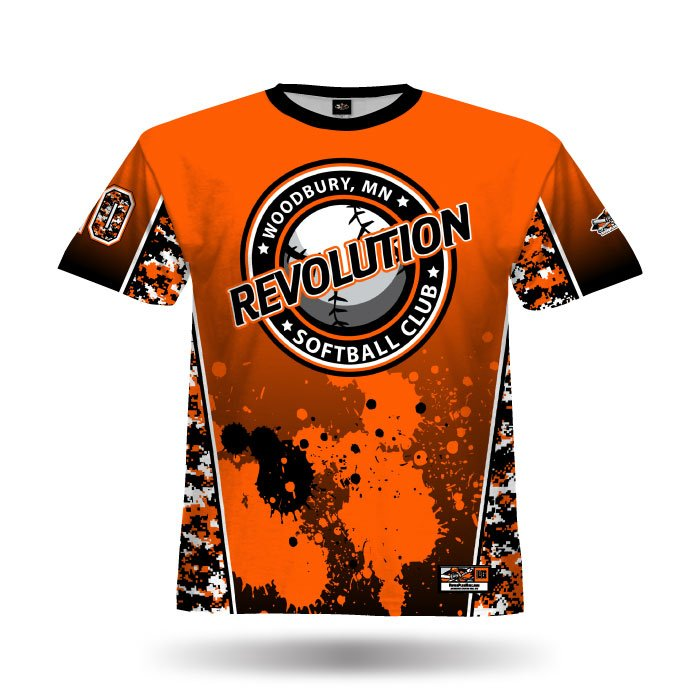 Digi Camo 3 Orange & Black Full Dye Jersey