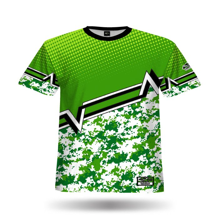 Digi Camo 5 Kelly & Dark Green Full Dye Jersey Front