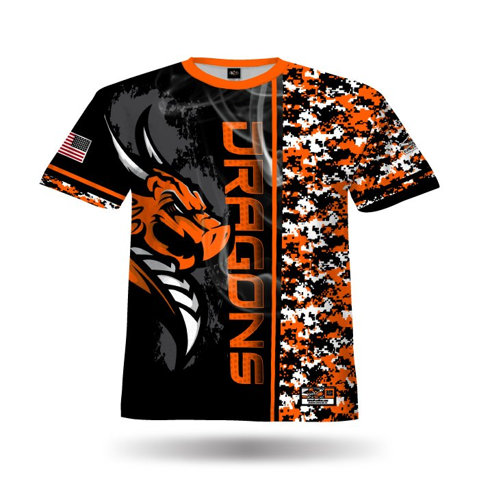 Orange & Black Full Dye Jersey Front