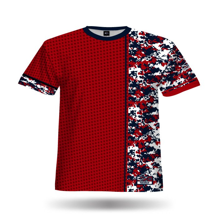 Digi Camo 6 Red & Navy Full Dye Jersey Front