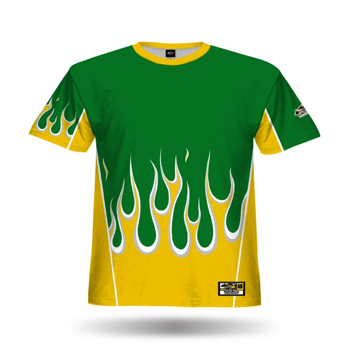 Flame Dark Green & Athletic Gold Full Dye Jersey Front Front