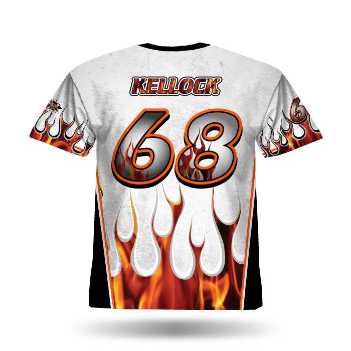 Flame II White & Black Full Dye Jersey Back
