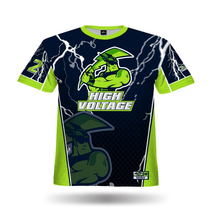 Lightning Navy & Lime Full Dye Jersey Front