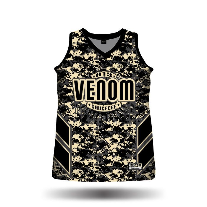 Navy Strong Black & Vegas Gold Full Dye Racerback Jersey Front