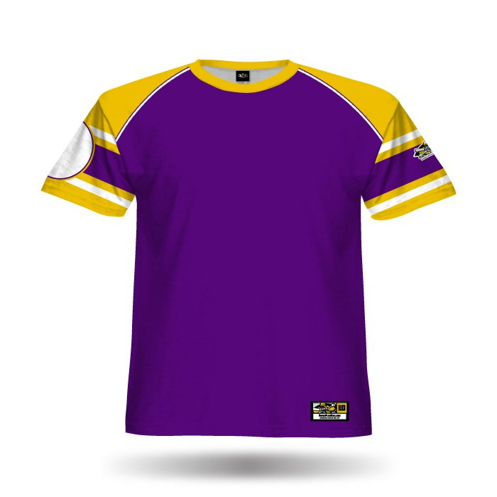 Old School Purple & Yellow Full Dye Jersey Blank Front
