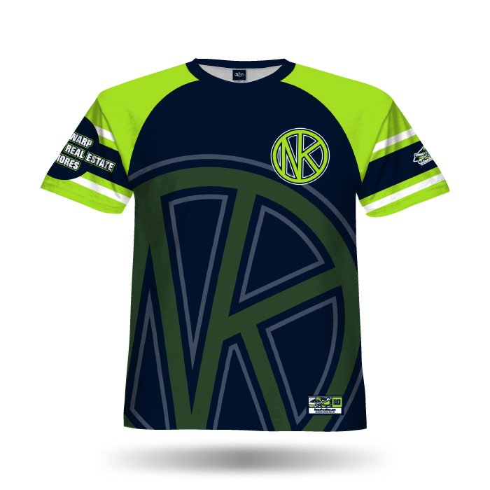 Old School Navy & Lime Full Dye Jersey Front