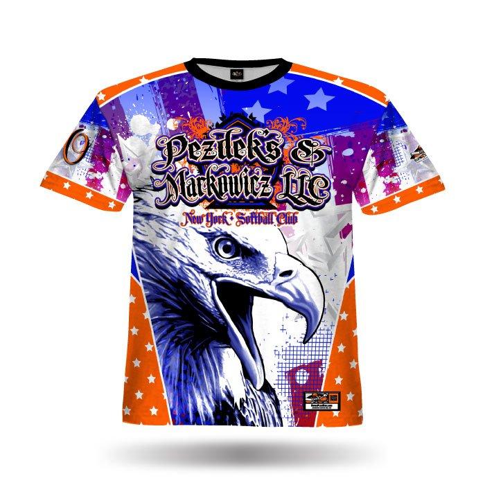 Patriotic Eagle Orange & Royal Full Dye Jersey