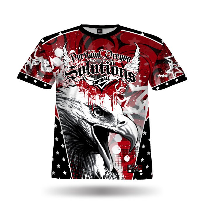 Patriotic Eagle Red & Black Full Dye Jersey Front