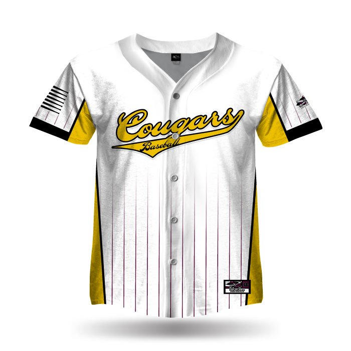 Pinfade Athletic Gold & White Full Dye Full Button Jersey Front