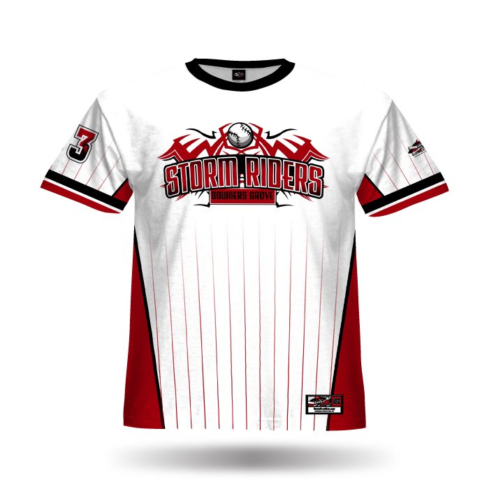 Pinfade White & Red Full Dye Jersey