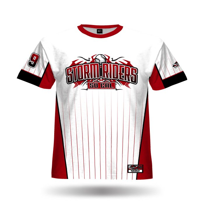 Pinfade White & Red Full Dye Jersey Front