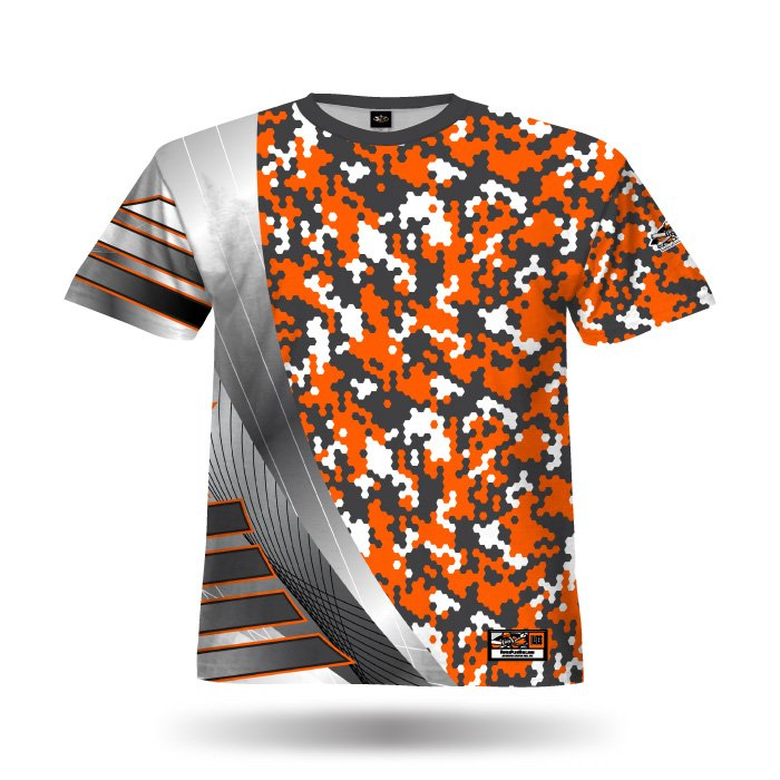 Reaper 2 Orange & Steel Grey Full Dye Jersey Blank Front