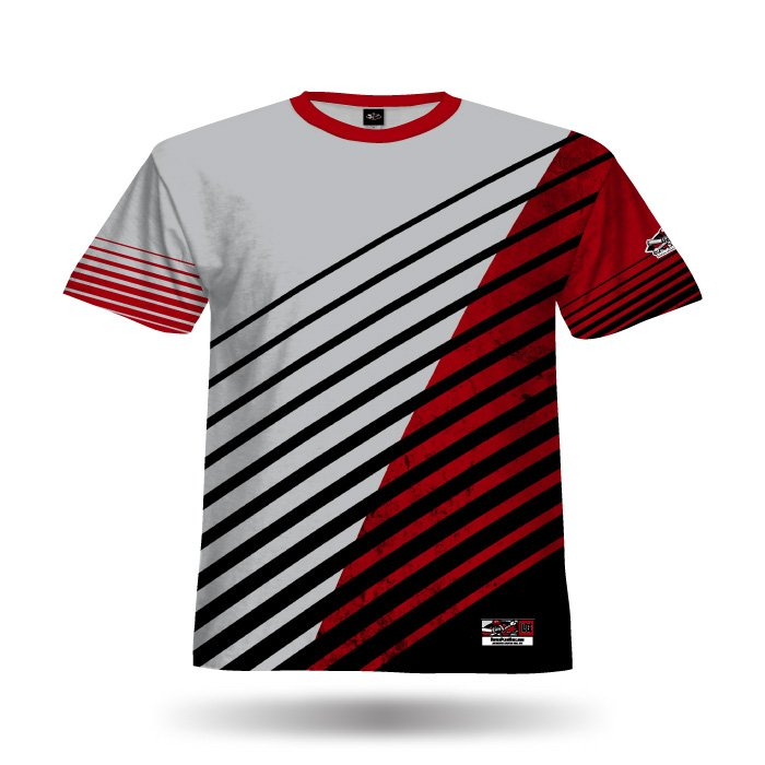 Relentless II Grey & Red Full Dye Jersey Front