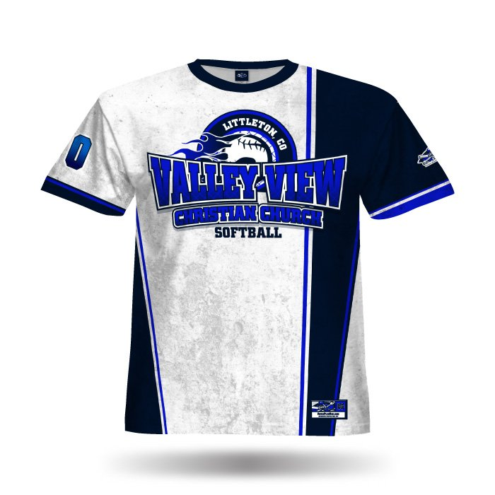 Retro White & Navy Full Dye Jersey Front