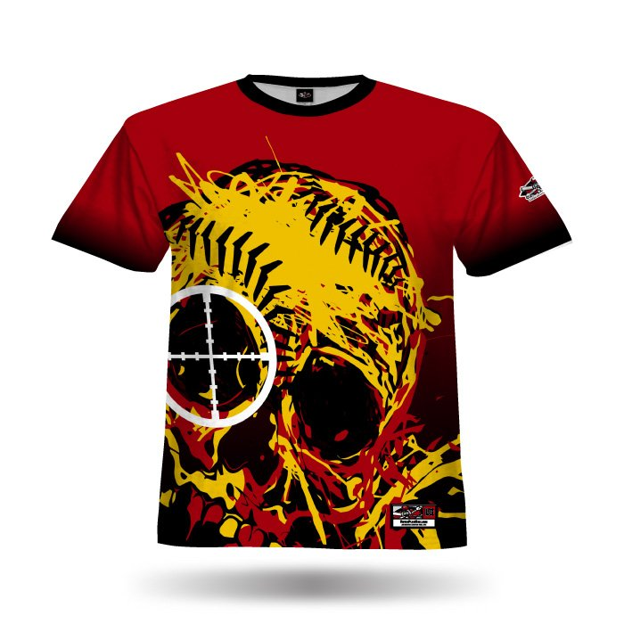 Skull 12 Red & Ath Gold Full Dye Jersey Blank Front
