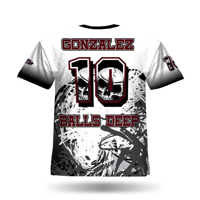 Skull12 Brick Red & Black Full Dye Jersey