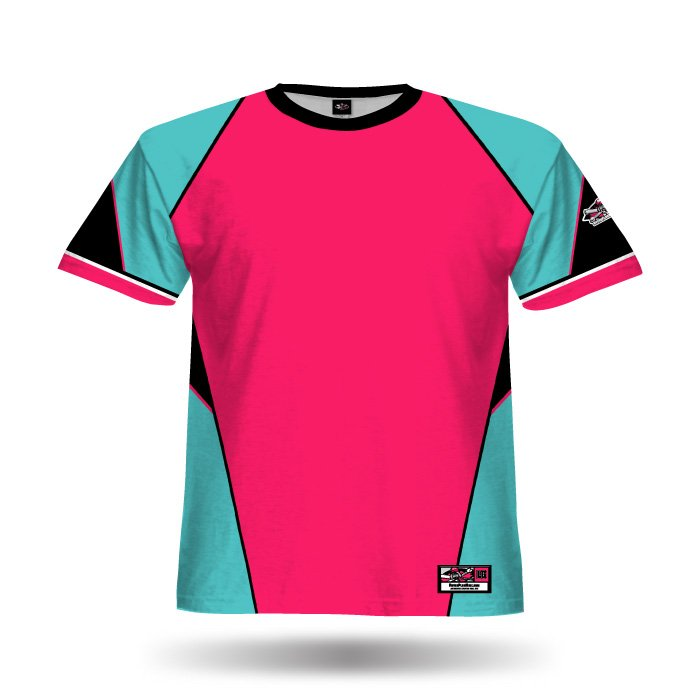 Slasher Aqua & Dark Pink Full Dye Jersey Blank Front