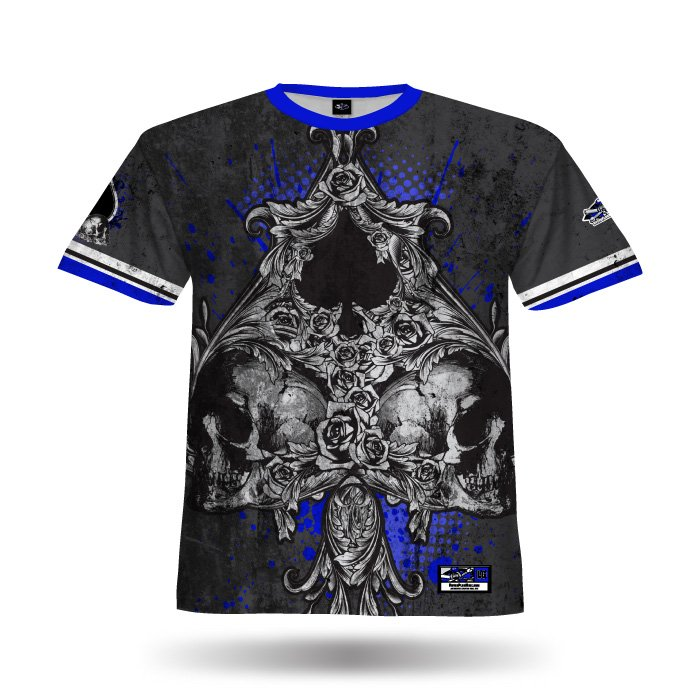 Spade III Black & Royal Full Dye Jersey Blank Front