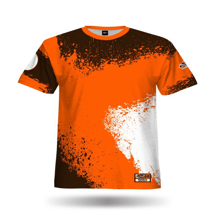 Splatter II Orange & Brown Full Dye Jersey Blank Front