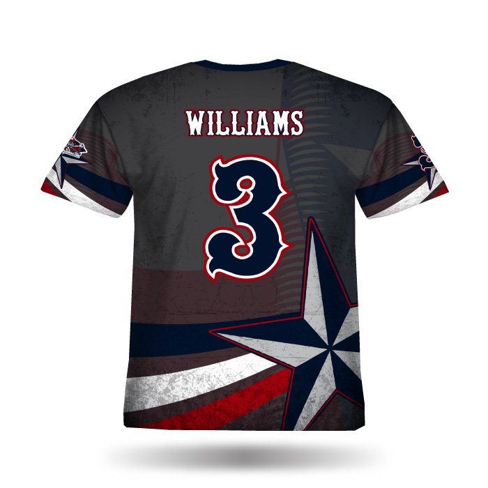 Texas Pride Navy & Red Full Dye Jersey Back