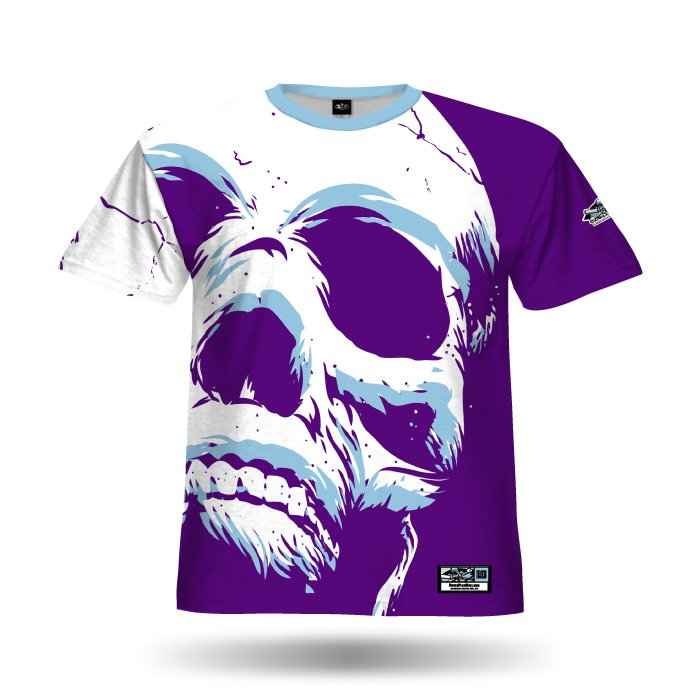 Super Skull Purple & Columbia Blue Full Dye Jersey Blank Front