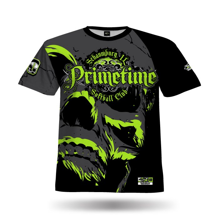 Super Skull Lime & Black Full Dye Jersey