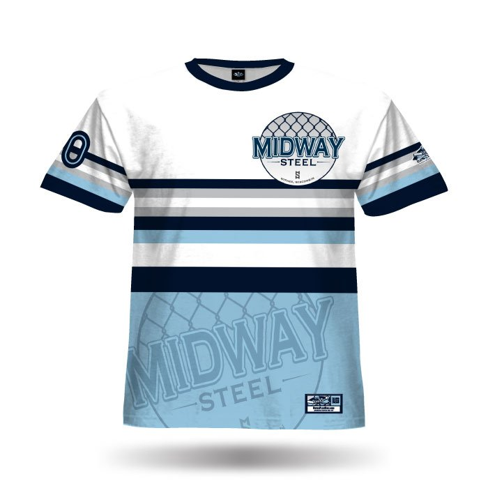 Throwback Columbia Blue & Navy Full Dye Jersey Front