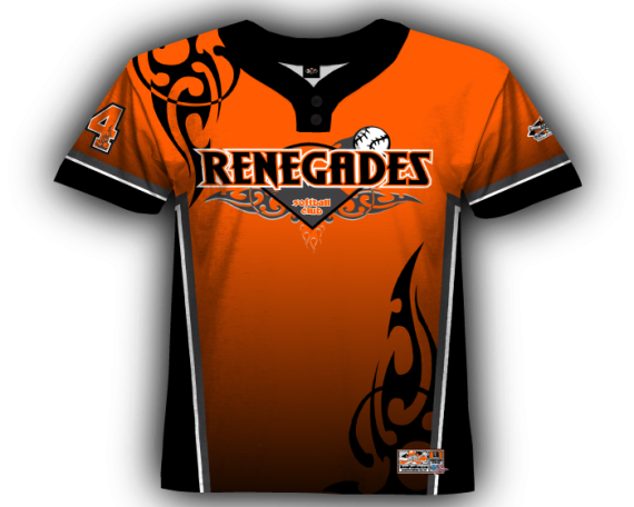 Tribal 2-Button Orange & Black Full Dye Jersey
