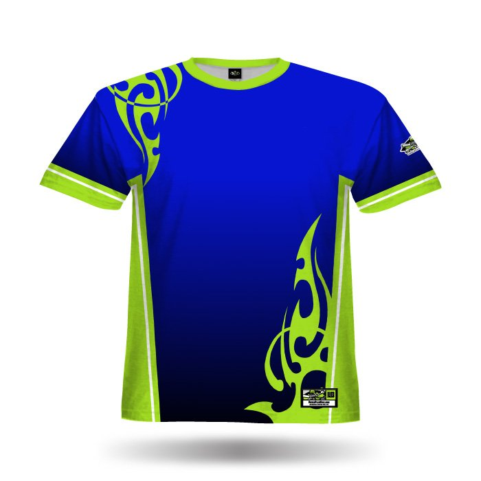 Tribal Royal & Lime Green Full Dye Jersey Blank Front