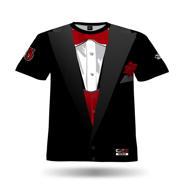 Tuxedo Black & Red Full Dye Jersey