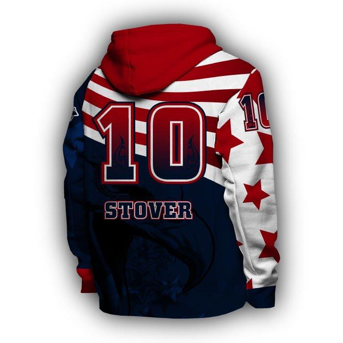 America1 Red & Navy Full Dye Hoodie