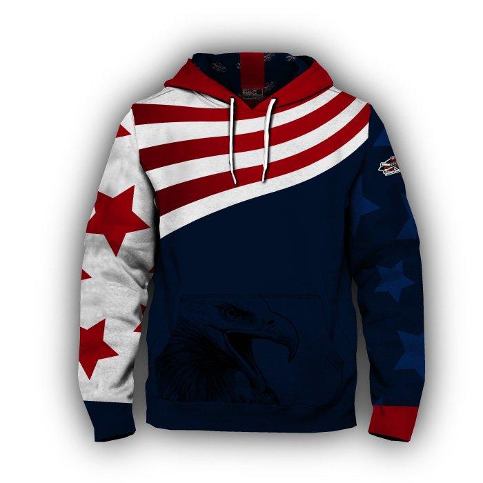 America 1 Blank Full Dye Hoodie Front