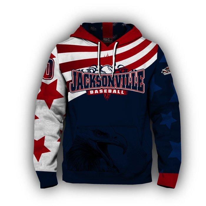 America 1 Red & Navy Blank Full Dye Hoodie Front