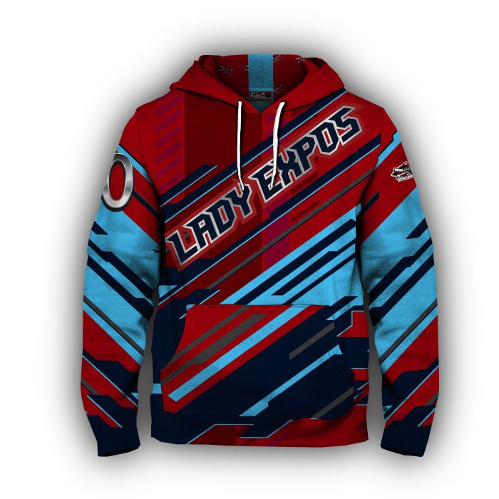 Digital Red & Navy Full Dye Hoodie Front